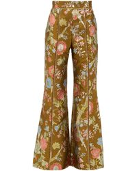 Peter Pilotto High-rise Floral-brocade Flared Pants - Multicolor