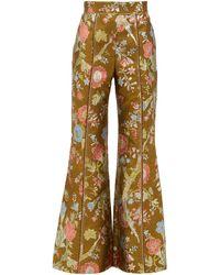 Peter Pilotto Pantalon taille haute évasé en brocart floral - Multicolore