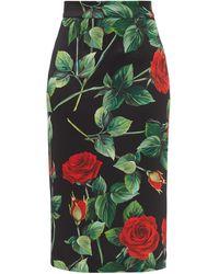 Dolce & Gabbana - ローズプリント スキューバジャージー ペンシルスカート - Lyst