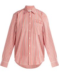 Martine Rose - Logo-embroidered Striped Cotton Shirt - Lyst