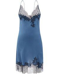 Carine Gilson Vネック レーストリム シルクスリップドレス - ブルー