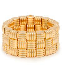 Bottega Veneta Intrecciato Woven Gold Plated Cuff - Metallic
