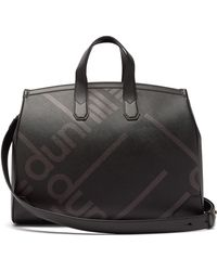 Dunhill Logo Print Leather Trim Coated Canvas Weekend Bag - Black