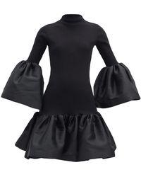 Marques'Almeida パフトリム オーガニックコットンブレンドドレス - ブラック