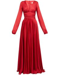 Alexandre Vauthier Plunge-neck Side-slit Gown - Red