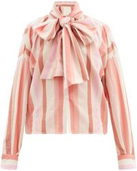 Marrakshi Life Bow-front Striped Cotton-blend Oxford Shirt - Pink
