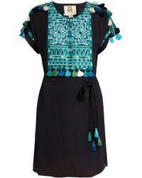 Figue - Naya Embroidered Silk-georgette Dress - Lyst