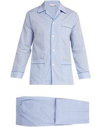 Derek Rose James Striped Cotton Pyjamas - Blue