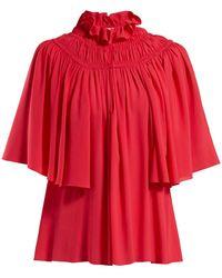 Giambattista Valli Smocked Crepe De Chine Blouse - Red