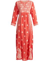 Muzungu Sisters Floral-embroidered Silk Dress - Pink