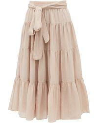 Loup Charmant Demeter Tiered Cotton-poplin Midi Skirt - Pink
