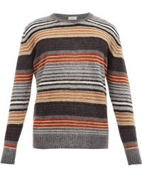 Altea - Crew-neck Striped Wool-blend Sweater - Lyst