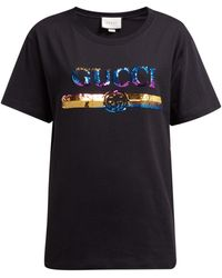 Gucci Logo Sequin-embellished Cotton-jersey T-shirt - Multicolour