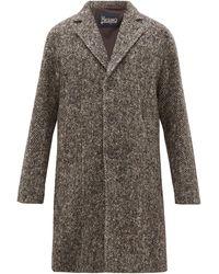 Herno Pardessus en laine à chevrons et boutonnage simple - Marron