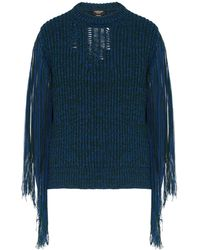 CALVIN KLEIN 205W39NYC Bi Colour Fringed Sleeve Sweater - Blue