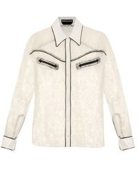 Rochas - Contrast-trimmed Lace Shirt - Lyst