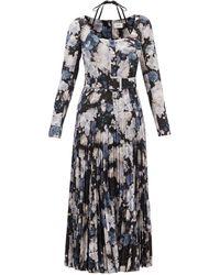Erdem マイラ ジゼル ベルテッド フローラルクレープドレス - ブルー