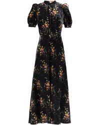 Brock Collection トレイシー フローラルベルベットドレス - ブラック