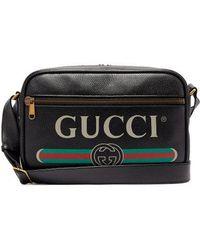 Gucci - - Logo Print Leather Messenger Bag - Mens - Black - Lyst