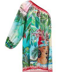 Hester Bly The Aimata One-shoulder Bora Bora-print Silk Dress - Multicolour