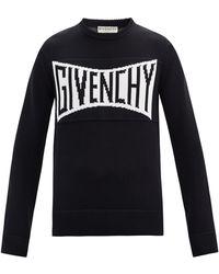 Givenchy Pull en coton à jacquard logo - Noir