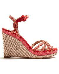 Aquazzura - Kerala 100 Braided-strap Wedge Sandals - Lyst