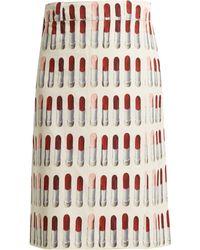 Prada - Lipstick Print Wrap Midi Skirt - Lyst