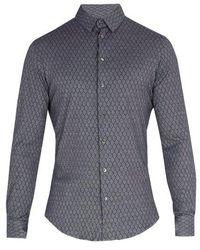 Giorgio Armani - Single-cuff Diamond-print Cotton Shirt - Lyst