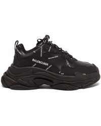 Balenciaga Triple S Faux-leather Trainers - Black