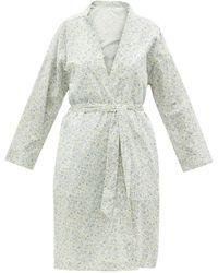 Domi Floral-print Organic-cotton Robe - White
