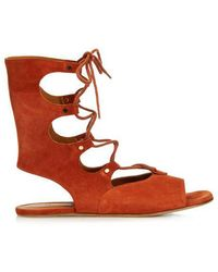 Chloé Lace-up Suede Gladiator Sandals - Brown