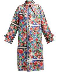 CHARLES JEFFREY LOVERBOY Manteau en lin à imprimé à roses effet griffonné - Multicolore
