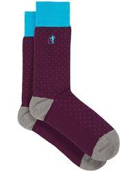 London Sock Company Spot Of Style Polka-dot Cotton-blend Socks - Purple