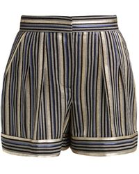 Peter Pilotto High-rise Striped Shorts - Blue