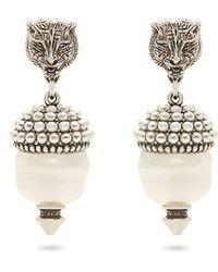 Gucci - Feline Faux-pearl Clip-on Earrings - Lyst