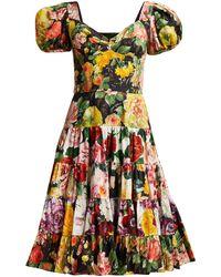 c7ba835b Dolce & Gabbana Lemon-print Silk-chiffon Mini Dress in Yellow - Lyst