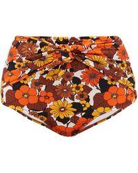 Dodo Bar Or Bas de bikini taille haute à imprimé floral Kayla - Orange
