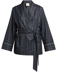 Morpho + Luna Amelie Checked Wool Robe - Gray