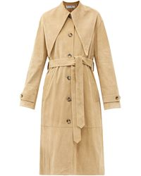 JW Anderson Exaggerated-collar Suede Trench Coat - Natural