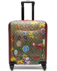 Gucci Gg Flora Coated-canvas And Leather Cabin Suitcase - Multicolour