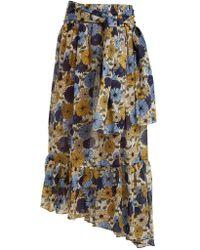 Lisa Marie Fernandez - Nicole Floral Print Asymmetric Hem Skirt - Lyst