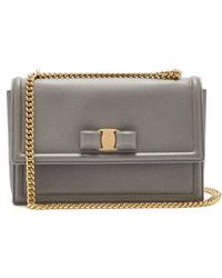 Ferragamo - - Ginny Medium Leather Shoulder Bag - Womens - Light Grey - Lyst