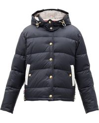 Thom Browne Hooded Quilted Down-filled Jacket - Blue