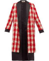 Marni Checked Wool-blend Bouclé Coat - Red