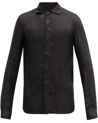 Rick Owens スプレッドカラー サテンファイユシャツ - ブラック