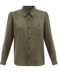 A.P.C. キャロル パッチポケット ツイルシャツ - グリーン
