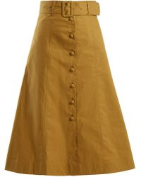 Sea - Belted A-line Cotton-blend Midi Skirt - Lyst
