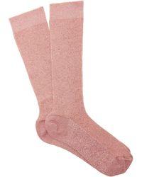 Raey Lurex Ribbed Socks - Pink