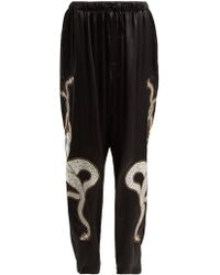 Edward Crutchley - Appliqué Patch Silk Satin Trousers - Lyst