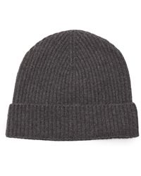 Johnstons of Elgin Ribbed Cashmere Beanie Hat - Grey